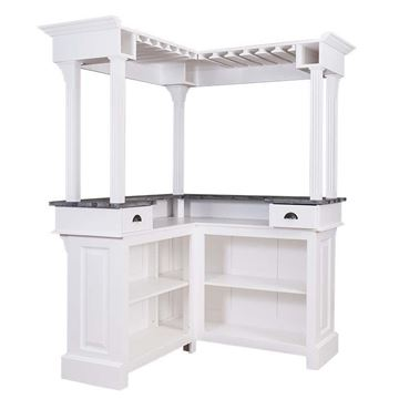 Galerie bar lemn masiv alb/zinc Duo