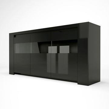 Bufet cu 3 uși și sistem LED negru lucios Orlando