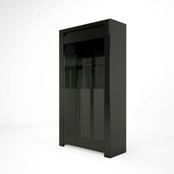 Vitrină cu 2 uși și sistem LED negru lucios Orlando