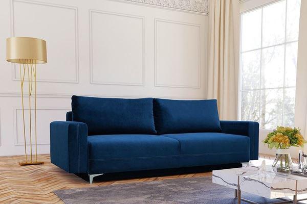 Canapea extensibilă 3 locuri albastru închis Marsylia