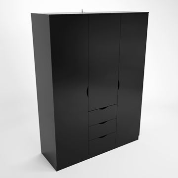 Dulap cu 3 uși și 3 sertare negru lucios Letty
