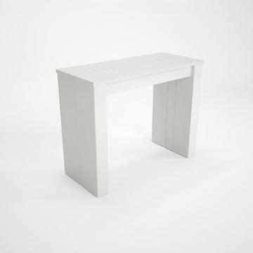 Consolă/masă dining extensibilă alb lucios Peninsule
