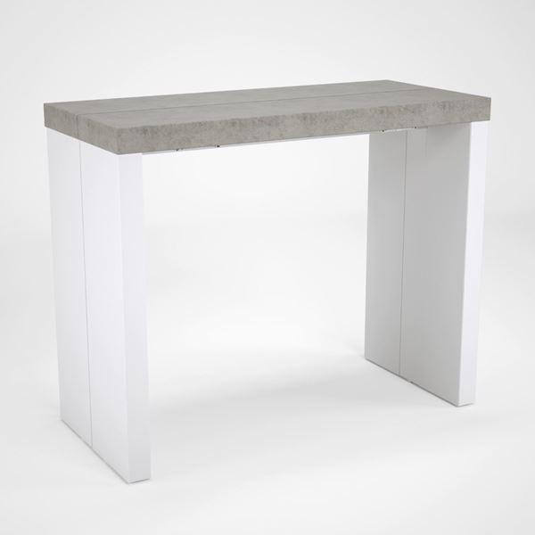 Consolă/masă dining extensibilă alb/gri-beton Helena