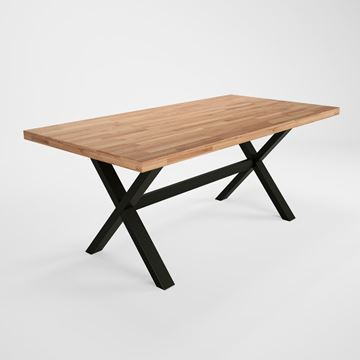 Masă fixă 180 cm, lemn masiv, picioare în formă de X, Concepto