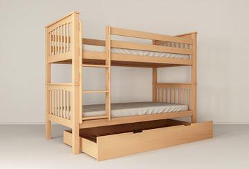 Pat copii supraetajat 90 x 200 cm cu sertar pat auxiliar fag natur David