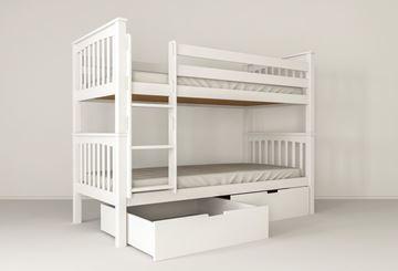 Pat copii supraetajat 90 x 200 cm cu 2 sertare alb David