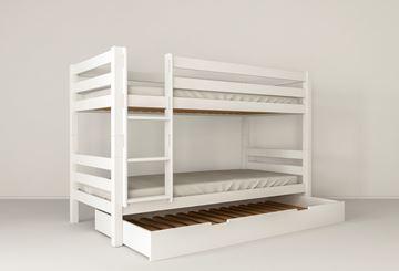 Pat copii supraetajat 90 x 200 cm cu sertar pat auxiliar alb Mark