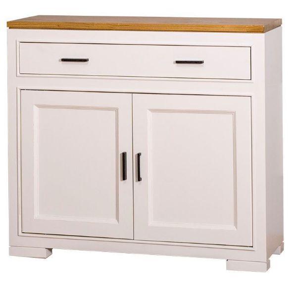 Comodă cu 2 uși și 1 sertar alb antichizat/stejar Pure