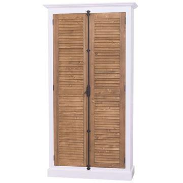Dulap 2 uși lemn masiv alb/natur Shutter