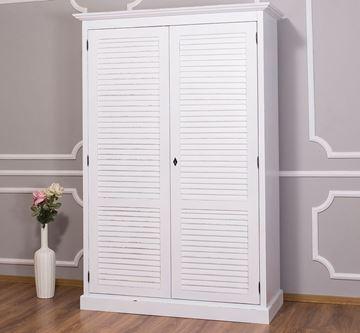 Dulap lemn masiv 2 uși alb dublu antichizat Shutter