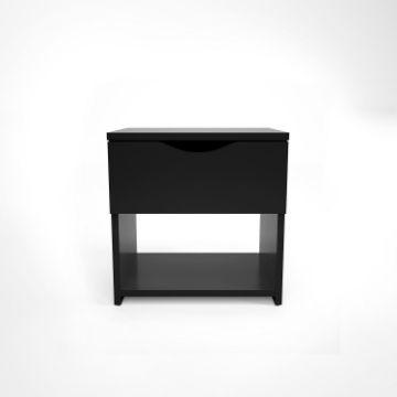Noptieră cu 1 sertar negru lucios Letty