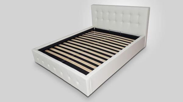 Pat tapițat cu somieră fixă 180 x 200 cm alb Ambra