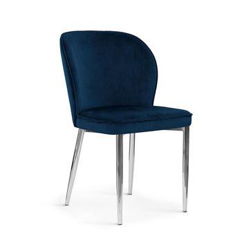 Scaun tapițat bleumarin/crom Aniel