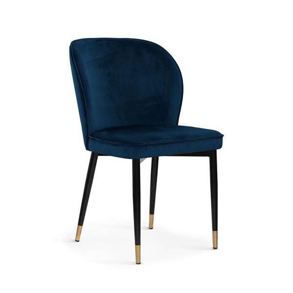 Scaun tapițat bleumarin/negru cu auriu Aniel