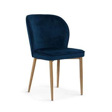 Scaun tapițat bleumarin/stejar Aniel