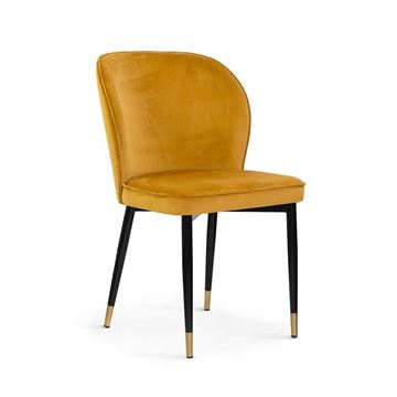 Scaun tapițat miere/negru cu auriu Aniel