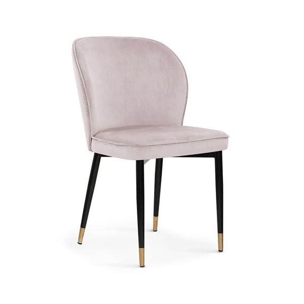 Scaun tapițat roz deschis/negru cu auriu Aniel