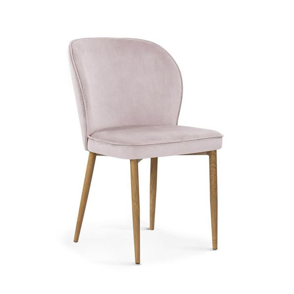 Scaun tapițat roz deschis/stejar Aniel