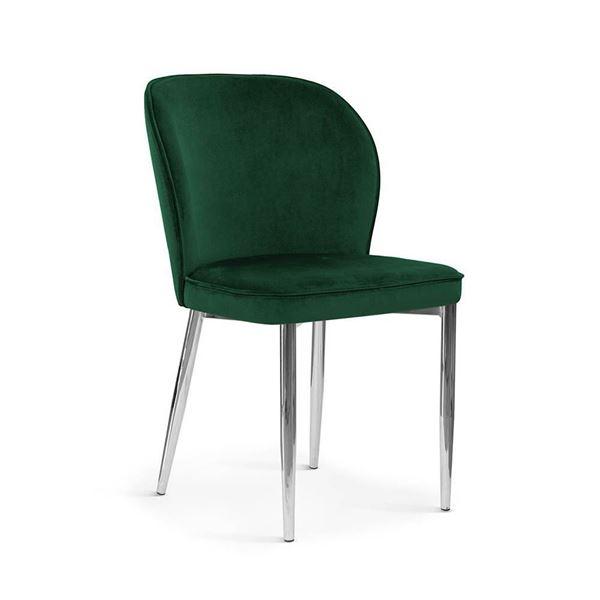 Scaun tapițat verde/crom Aniel