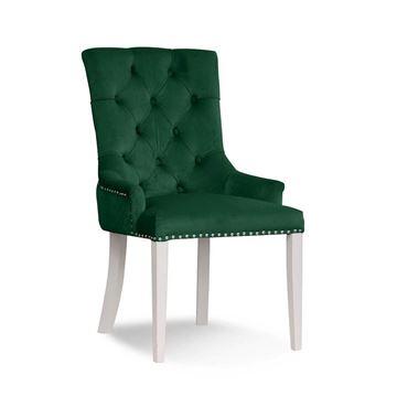 Scaun tapițat verde/alb August