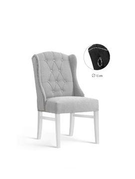 Scaun tapițat gri deschis/alb Royal