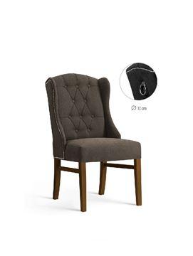 Scaun tapițat maro/nuc Royal