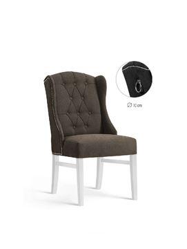 Scaun tapițat maro/alb Royal