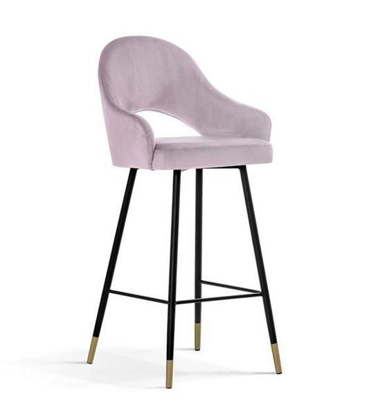 Scaun bar tapițat roz/negru-auriu Goda 60