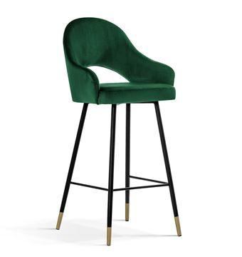 Scaun bar tapițat verde/negru-auriu Goda 60