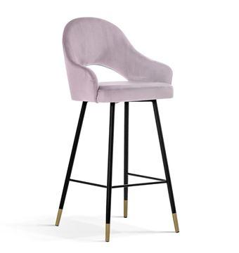 Scaun bar tapițat roz/negru-auriu Goda 70