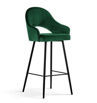 Scaun bar tapițat verde/negru Goda 70