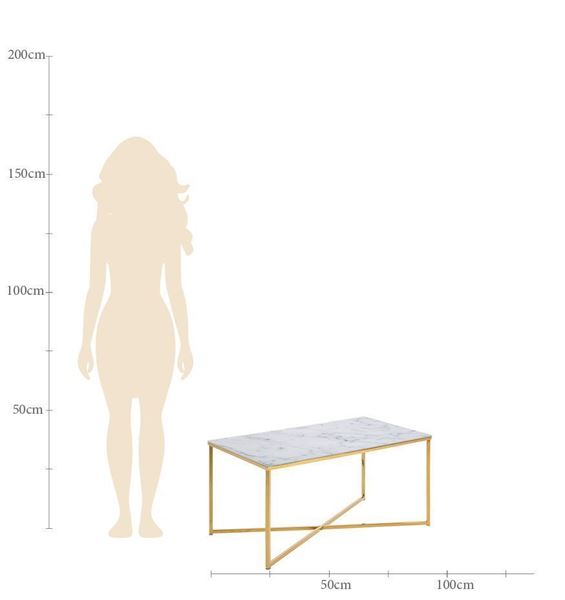 Măsuță dreptunghiulară de sticlă 90 x 50 cm auriu/alb mat Alisma
