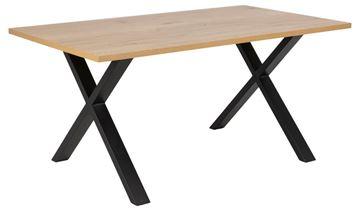 Masă dining dreptunghiulară fixă 160 cm picioare X stejar sălbatic/negru Cenny