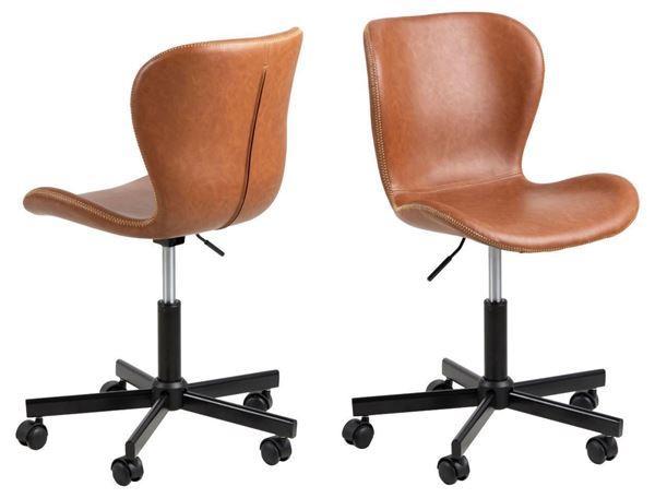 Scaun de birou tapițat rotativ coniac/negru Batilda