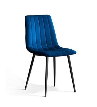 Scaun tapițat albastru/negru Tux