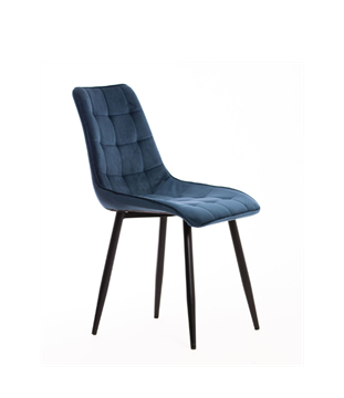 Scaun tapițat albastru/negru Moli