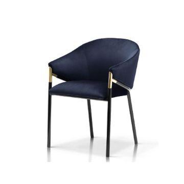 Scaun tapițat bleumarin/negru Fancy