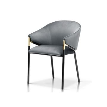 Scaun tapițat gri/negru Fancy