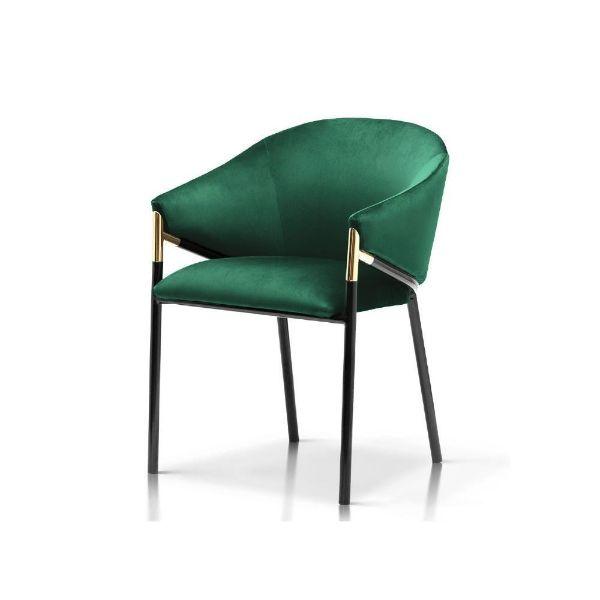 Scaun tapițat verde/negru Fancy