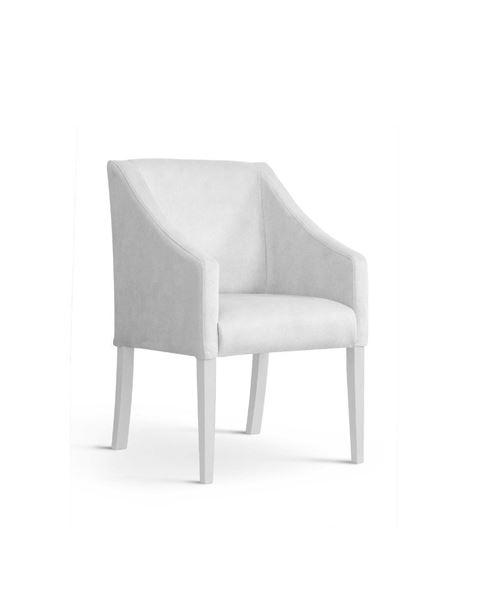 Scaun tapițat alb-argintiu/alb Caro