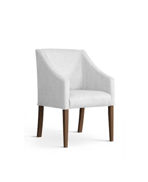 Scaun tapițat alb-argintiu/nuc Caro