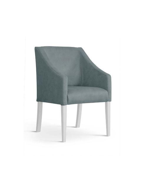 Scaun tapițat gri/alb Caro