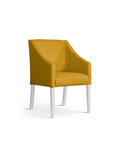 Scaun tapițat galben/alb Caro