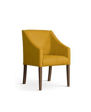 Scaun tapițat galben/nuc Caro