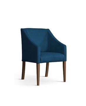 Scaun tapițat albastru/nuc Caro