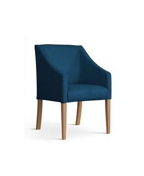 Scaun tapițat albastru/stejar Caro