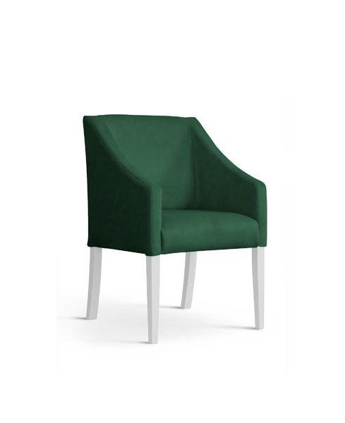 Scaun tapițat verde/alb Caro