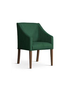 Scaun tapițat verde/nuc Caro
