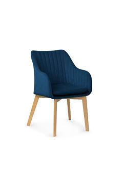 Scaun tapițat cu dungi albastru/fag Hana II