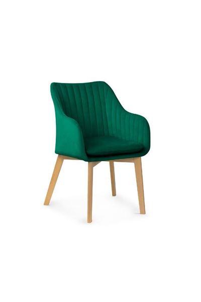 Scaun tapițat cu dungi verde/fag Hana II